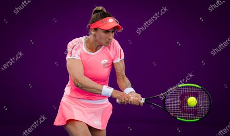 Lesia Tsurenko of Ukraine in action during the second qualifications round of the 2021 Qatar Total Open WTA 500 tournament.