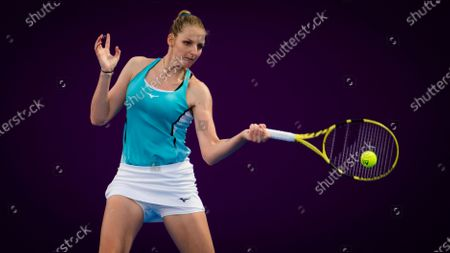 Kristyna Pliskova of the Czech Republic in action during the second qualifications round of the 2021 Qatar Total Open WTA 500 tournament.