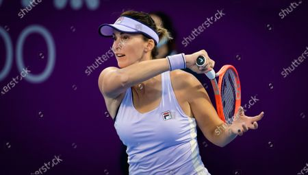 Yaroslava Shvedova of Kazakhstan in action during the second qualifications round of the 2021 Qatar Total Open WTA 500 tournament.