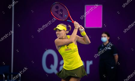 Angelique Kerber of Germany in action during the first round of the 2021 Qatar Total Open WTA 500 tournament