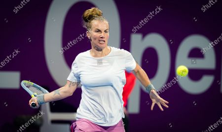 Stock Picture of Svetlana Kuznetsova of Russia in action during the first round of the 2021 Qatar Total Open WTA 500 tournament