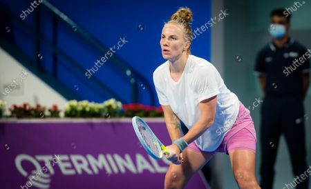 Stock Image of Svetlana Kuznetsova of Russia in action during the first round of the 2021 Qatar Total Open WTA 500 tournament