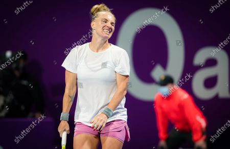 Svetlana Kuznetsova of Russia in action during the first round of the 2021 Qatar Total Open WTA 500 tournament