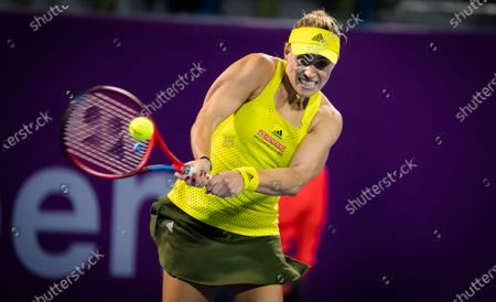 Angelique Kerber of Germany in action during her first round match at the 2021 Qatar Total Open WTA 500 tournament