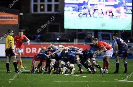 Cardiff Blues vs Munster. Munster's Nick McCarthy puts the ball into a scrum