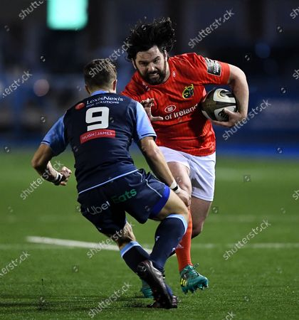 Cardiff Blues vs Munster. Munster's Kevin O'Byrne with Jamie Hill of Cardiff
