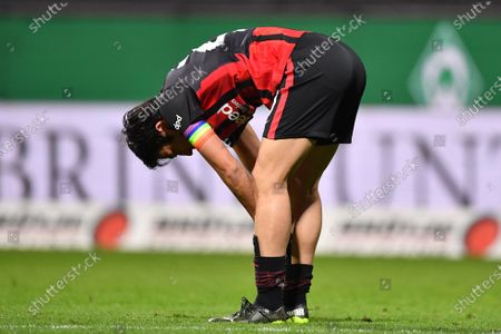 Makoto Hasebe of Frankfurt reacts after the German Bundesliga soccer match between Werder Bremen and Eintracht Frankfurt in Bremen, Germany, 26 February 2021.