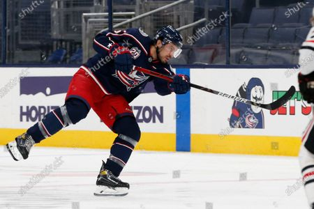 Columbus Blue Jackets' Michael Del Zotto plays against the Chicago Blackhawks during an NHL hockey game, in Columbus, Ohio