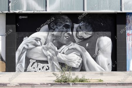A mural shows NBA players Pau Gasol (R) and Kobe Bryant (L) depicting the friendship between the two Los Angeles Lakers players in Los Angeles, California, USA, 26 February 2021. A year after the passing of basketball player Kobe Bryant and his daughter Gianna, Los Angeles still mourns the loss of a legend through murals all over the city and county. Kobe Bryant died in a helicopter crash on 26 January 2020.