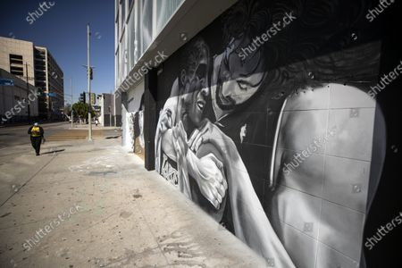 Editorial picture of Kobe Bryant and Pau Gasol mural in Los Angeles, USA - 26 Feb 2021
