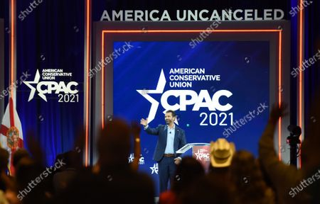 Don Trump, Jr. waves as he leaves the stage after addressing attendees at the 2021 Conservative Political Action Conference at the Hyatt Regency.  Former U.S. President Donald Trump is scheduled to address attendees on the final day of the conference.