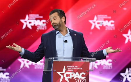 Don Trump, Jr. addresses attendees at the 2021 Conservative Political Action Conference at the Hyatt Regency. Former U.S. President Donald Trump is scheduled to address attendees on the final day of the conference.