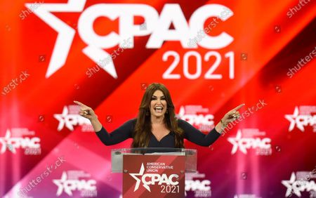 Stock Image of Kimberly Guilfoyle addresses attendees at the 2021 Conservative Political Action Conference at the Hyatt Regency. Former U.S. President Donald Trump is scheduled to address attendees on the final day of the conference.