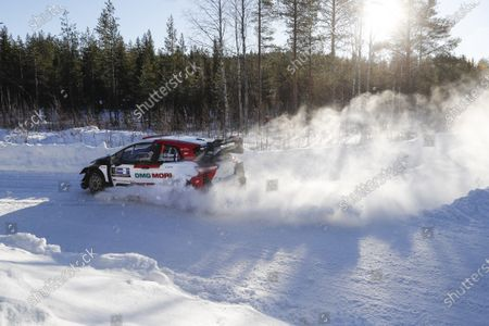 Sebastien Ogier of France drives his Toyota Yaris WRC during Day 2 of the Arctic Rally Rovaniemi Finland 2021 as part of the FIA World Rally Championship (WRC) near Rovaniemi, Finland, 27 February 2021.