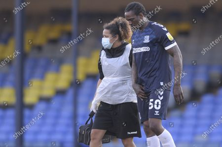 Nile Ranger of Southend United is forced off after suffering an injury during Sky Bet League Two match between Southend United and Salford City at Roots Hall in Southend - 27th February 2021
