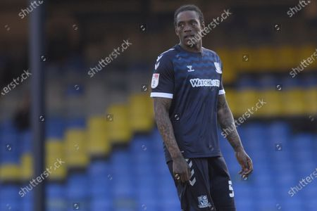 Nile Ranger of Southend United in action during Sky Bet League Two match between Southend United and Salford City at Roots Hall in Southend - 27th February 2021