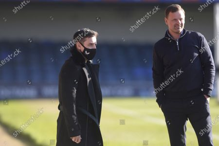 (L) Gary Neville and (R) Richie Wellens of Salford City prior to the Sky Bet League Two match between Southend United and Salford City at Roots Hall in Southend - 27th February 2021