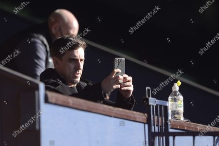 Gary Neville of Salford City prior to the Sky Bet League Two match between Southend United and Salford City at Roots Hall in Southend - 27th February 2021