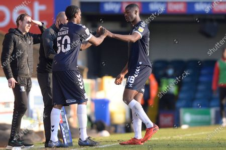 Nile Ranger of Southend United replaces Emile Acquah during Sky Bet League Two match between Southend United and Salford City at Roots Hall in Southend - 27th February 2021
