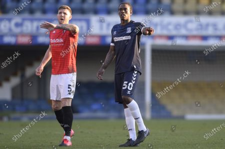 Nile Ranger of Southend United and Ashley Eastham of Salford City in action during Sky Bet League Two match between Southend United and Salford City at Roots Hall in Southend - 27th February 2021