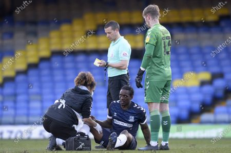 Nile Ranger of Southend United receives treatment during Sky Bet League Two match between Southend United and Salford City at Roots Hall in Southend - 27th February 2021