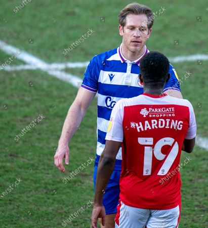 Stock Image of Michael Morrison of Reading post match with Wes Harding of Rotherham; AESSEAL New York Stadium, Rotherham, Yorkshire, England; English Football League Championship Football, Rotherham United versus Reading.
