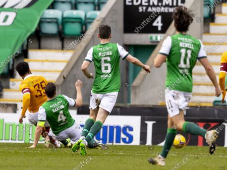 Jordan Roberts of Motherwell scores the opening goal for Motherwell in the 25th minute for 0-1; Easter Road, Edinburgh, Scotland; Scottish Premiership Football, Hibernian versus Motherwell.