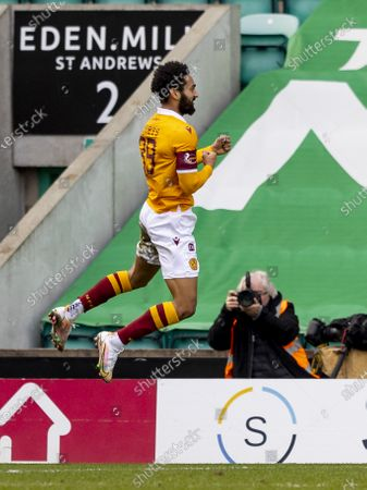 Jordan Roberts of Motherwell celebrates after scoring the opening goal for Motherwell in the 25th minute for 0-1; Easter Road, Edinburgh, Scotland; Scottish Premiership Football, Hibernian versus Motherwell.