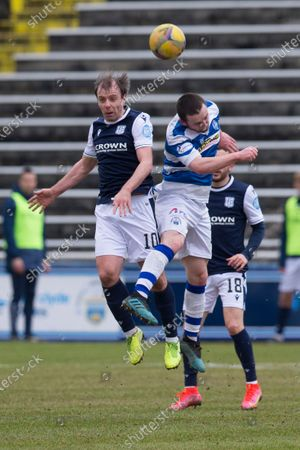 Paul McGowan of Dundee competes in the air with Lewis Strapp of Greenock Morton; Cappielow Park, Greenock, Inverclyde, Scotland; Scottish Championship Football, Greenock Morton versus Dundee FC.
