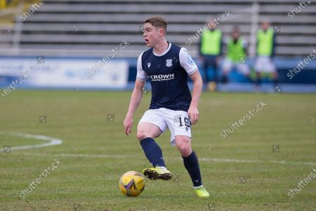 Stock Picture of Finlay Robertson of Dundee looks for a pass; Cappielow Park, Greenock, Inverclyde, Scotland; Scottish Championship Football, Greenock Morton versus Dundee FC.