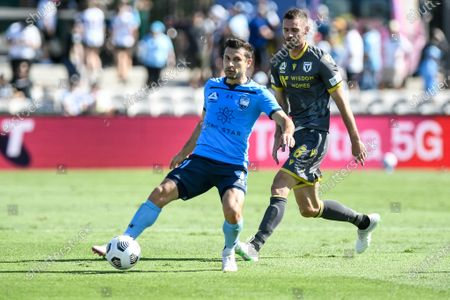 Stock Picture of Kosta Barbarouses of Sydney holds off the challenge from Aleksandar Jovanovic of Macarthur FC; Netstrata Jubilee Stadium, Sydney, New South Wales, Australia; Australian A League Football, Sydney FC versus Macarthur FC.