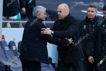 Burnley Manager Sean Dyche speaks with Tottenham Hotspur Manager Jose Mourinho after the 4-0 loss; Tottenham Hotspur Stadium, London, England; English Premier League Football, Tottenham Hotspur versus Burnley.