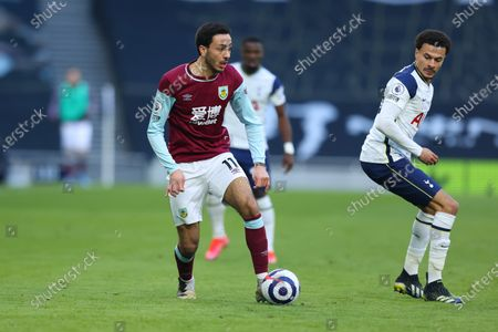 Dwight McNeil of Burnley takes on Dele Alli of Tottenham Hotspur; Tottenham Hotspur Stadium, London, England; English Premier League Football, Tottenham Hotspur versus Burnley.