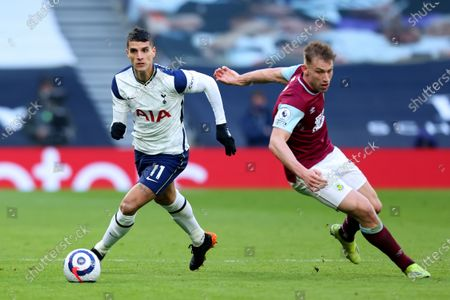 Erik Lamela of Tottenham Hotspur turns Charlie Taylor of Burnley; Tottenham Hotspur Stadium, London, England; English Premier League Football, Tottenham Hotspur versus Burnley.