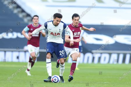 Dele Alli of Tottenham Hotspur under pressure from Jack Cork of Burnley; Tottenham Hotspur Stadium, London, England; English Premier League Football, Tottenham Hotspur versus Burnley.
