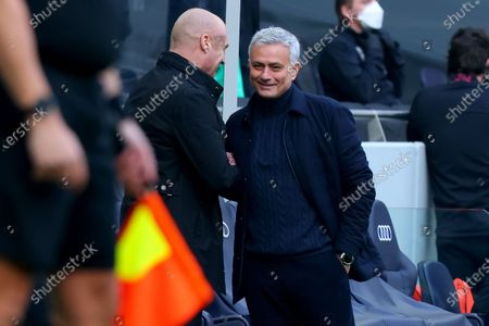 Tottenham Hotspur Manager Jose Mourinho smiles as he shakes hands with Burnley Manager Sean Dyche; Tottenham Hotspur Stadium, London, England; English Premier League Football, Tottenham Hotspur versus Burnley.