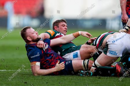 Joe Joyce of Bristol Bears and Tom Youngs of Leicester Tigers