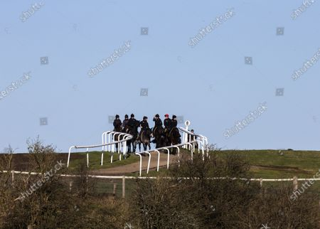 Stock Picture of Race horses from the stables of trainer Andrew Balding exercise on the downs above Kingsclere.
