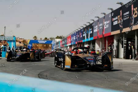 Jean-Eric Vergne (FRA) DS Techeetah, DS E-Tense FE20, and Antonio Felix da Costa (PRT) DS Techeetah, DS E-Tense FE20, head out on to the circuit during the 2021 Formula E Round 2 - Diriyah E-Prix