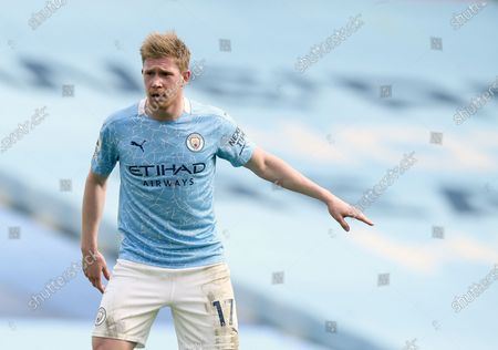 Manchester City's Kevin De Bruyne reacts during the English Premier League soccer match between Manchester City and West Ham United at the Etihad stadium in Manchester, England