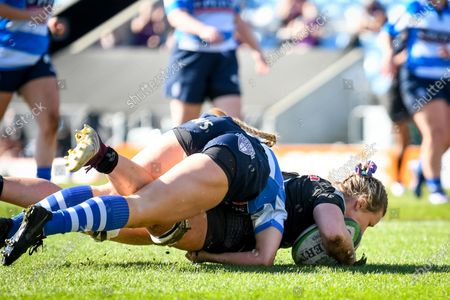 Stock Picture of Rachel Johnson of Exeter Chiefs Women scores a try