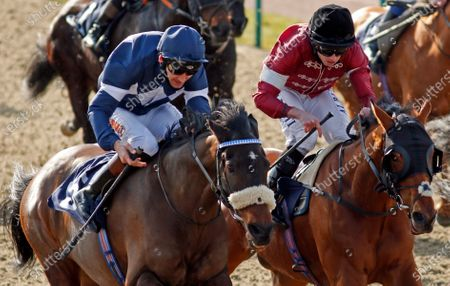 ENOUGH ALREADY (left, Dougie Costello) beats CONVERTIBLE (right) in The Read Katie Walsh On Betway Insider Handicap Lingfield