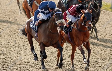 Stock Image of ENOUGH ALREADY (left, Dougie Costello) beats CONVERTIBLE (right) in The Read Katie Walsh On Betway Insider Handicap Lingfield