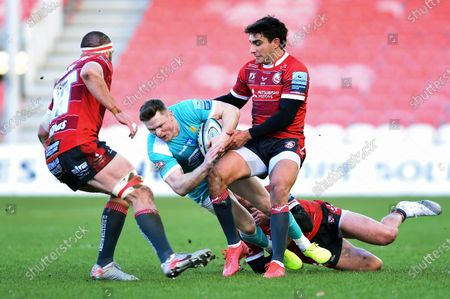 Chris Ashton of Worcester Warriors is tackled to ground