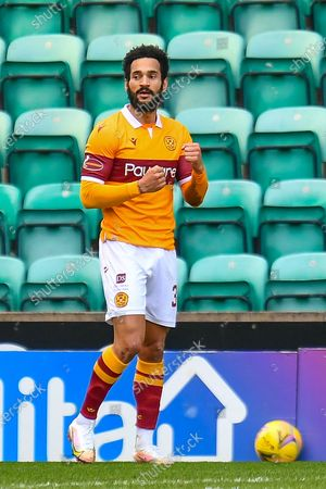 GOAL 0-1 Jordan Roberts (#39) of Motherwell FC celebrates after scoring the opening goal during the SPFL Premiership match between Hibernian FC and Motherwell FC at Easter Road, Edinburgh