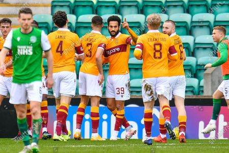 Stock Photo of GOAL 0-1 Jordan Roberts (#39) of Motherwell FC celebrates after scoring the opening goal during the SPFL Premiership match between Hibernian FC and Motherwell FC at Easter Road, Edinburgh