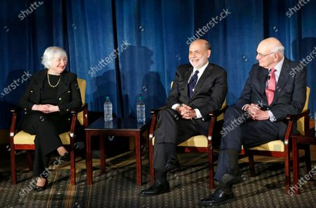 From left, Federal Reserve chair Janet Yellen, and former Federal Reserve chairs Ben Bernanke, Paul Volcker appear together for the first time in New York