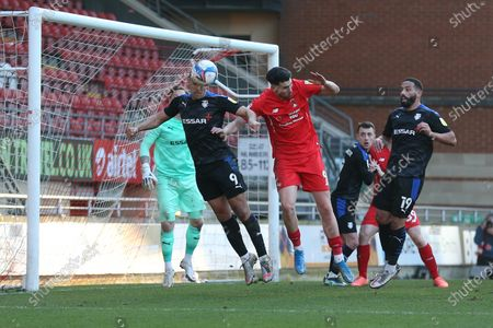 James Vaughan of Tranmere Rovers and Conor Wilkinson of Leyton Orient during Leyton Orient vs Tranmere Rovers, Sky Bet EFL League 2 Football at The Breyer Group Stadium on 27th February 2021