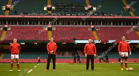 Jonathan Davies, George North, Ken Owens and Alun Wyn Jones of Wales during the anthems.