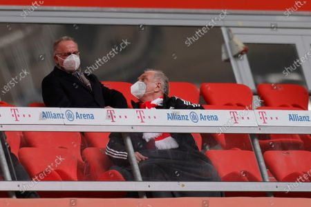 Stock Picture of Bayern's chairman of the board Karl-Heinz Rummenigge (L) and Bayern's former president Uli Hoeness (R) ahead of the German Bundesliga soccer match between Bayern Munich and 1. FC Koeln in Munich, Germany, 27 February 2021.